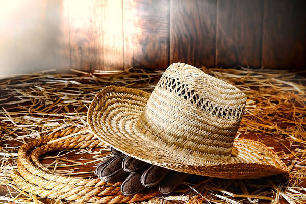 Dust Photograph - Old Farmer Hat In Hay Barn by Olivier Le Queinec