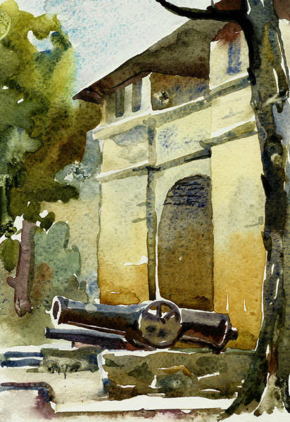 Castilla Painting - Old Gate With Cannon Watercolor by Natalia Sinelnik
