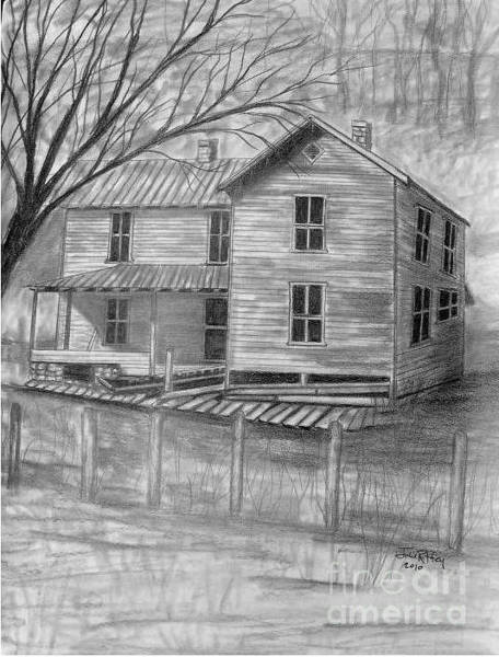 Front Porch Drawing - Old Homeplace by Julie Brugh Riffey