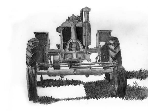 Old Tractor Drawing - Old Iron by Carl Muller