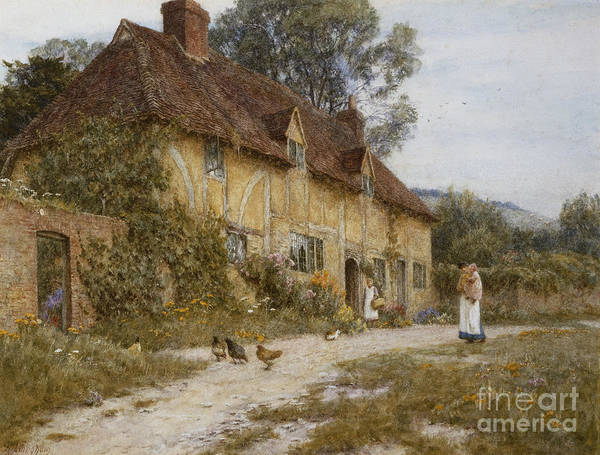 Half Timbered Painting - Old Kentish Cottage by Helen Allingham