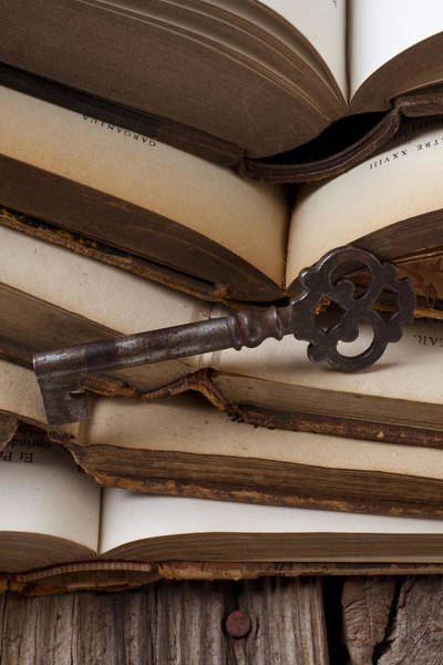 Skeleton Key Photograph - Old Key On Books by Garry Gay