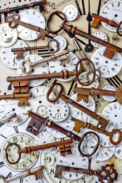 Skeleton Key Photograph - Old Keys And Watch Dails by Garry Gay