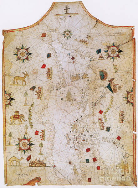 Photograph - Old Map Of Mediterranean Sea by Photo Researchers