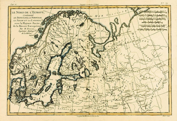 Old Map Of Northern Europe Art Print