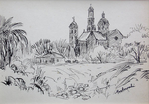 Spanish People Drawing - Old Mission by Aileen Markowski
