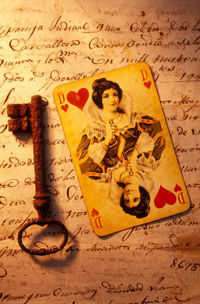 Cards Photograph - Old Playing Card And Key by Garry Gay
