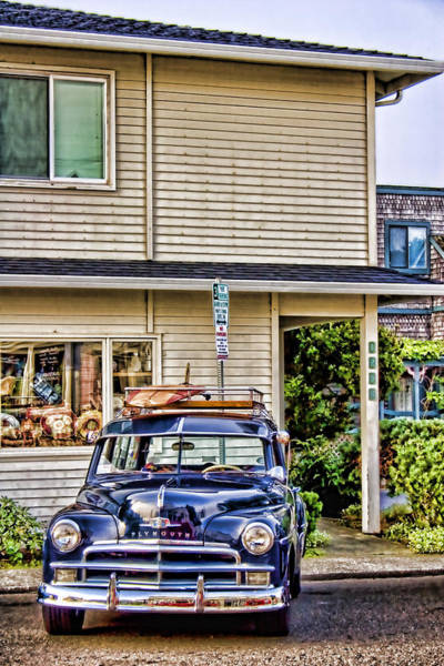 Show Photograph - Old Plymouth And Surfboard by Carol Leigh