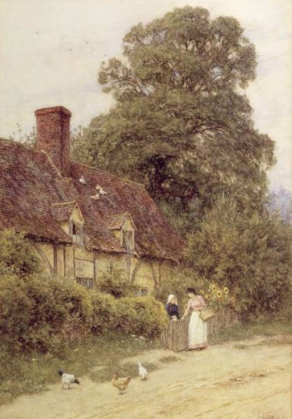 Half Timbered Painting - Old Post Office Brook Near Witley Surrey by Helen Allingham