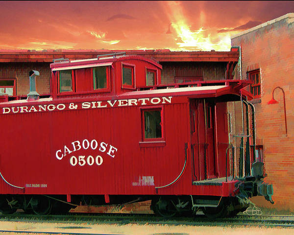 Digital Art - Old Red Caboose 500 by Gary Baird