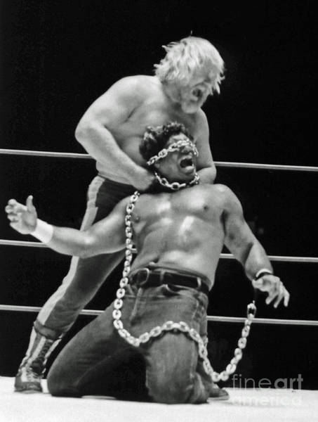 Wall Art - Photograph - Old School Wrestling Chain Match Between Moondog Mayne And Don Muraco by Jim Fitzpatrick