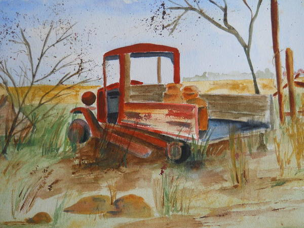 Painting - Old Trucks Never Die by Audrey Bunchkowski