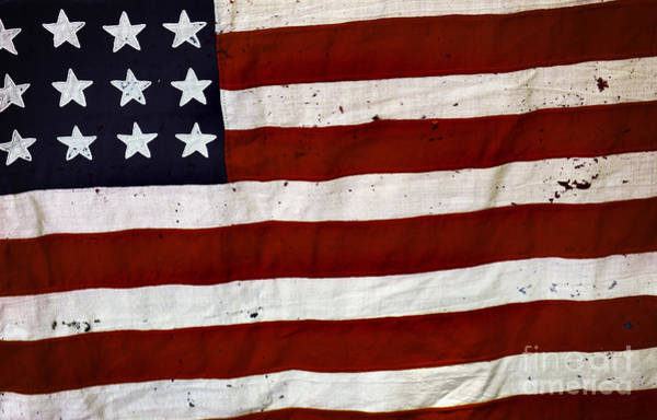 Ancient America Photograph - Old Usa Flag by Carlos Caetano