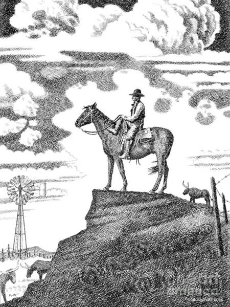 Drawing - Old-west-art-cowboy by Gordon Punt