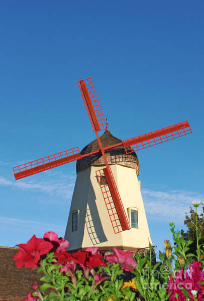 Solvang Photograph - Old Windmill In Solvang California by Paul Topp