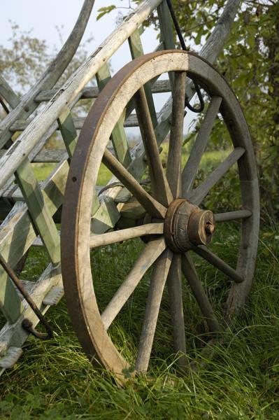 Photograph - Old Wooden Cartwheel - Nostalgia by Matthias Hauser