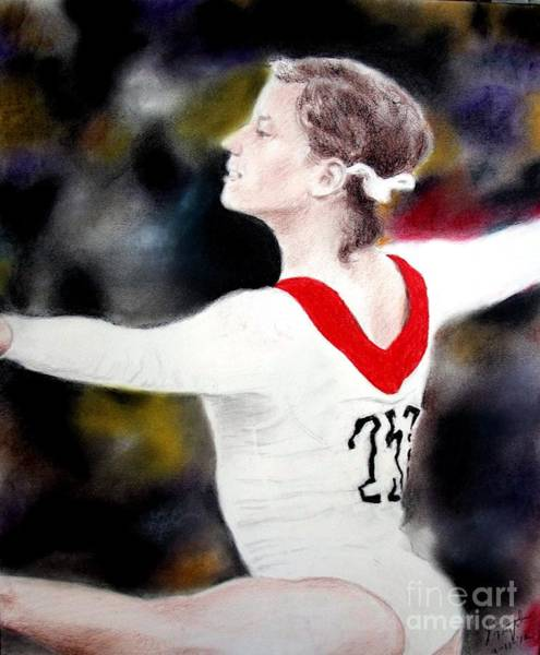 Gold Medal Drawing - Olga Korbut Performing At The 1972 Summer Olympics In Munich by Jim Fitzpatrick
