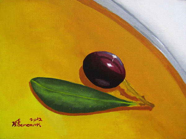 Olive Oil Painting - Olive In Olive Oil by Kayleigh Semeniuk