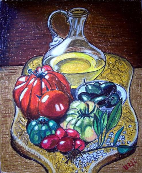 Glass Cutting Painting - Olive Oil Still Life by Ulrike Proctor