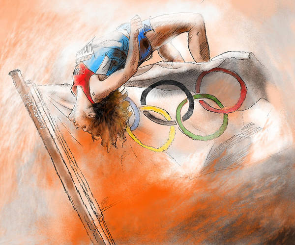 High Jump Painting - Olympics High Jump Gold Medal Ivan Ukhov by Miki De Goodaboom