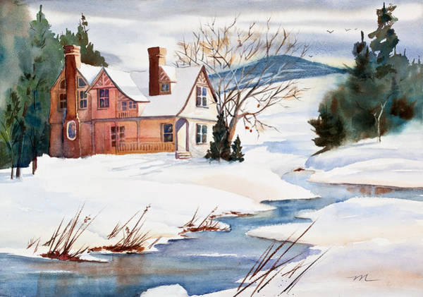 Porch Painting - On A Winters Day Watercolor Painting by Michelle Constantine