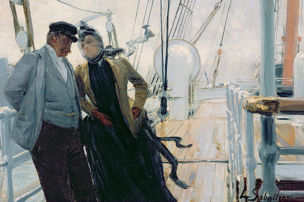 Deck Painting - On Deck by Louis Anet Sabatier