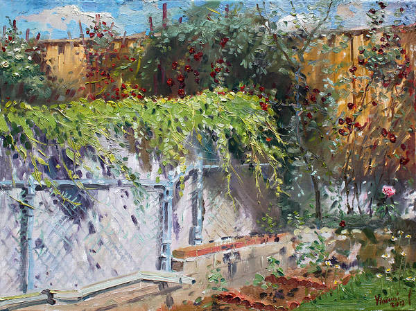 Fences Wall Art - Painting - On The Backyard Of My Studio by Ylli Haruni