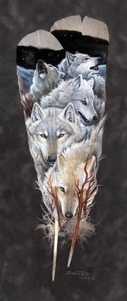 Arctic Wolf Painting - On The Tundra by Sandra SanTara