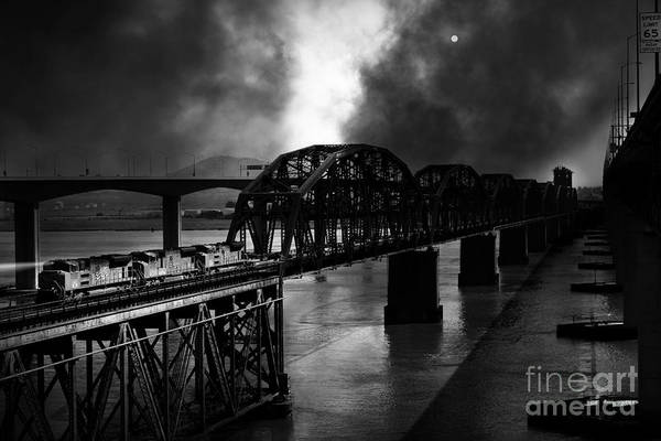 Benicia Bridge Wall Art - Photograph - Once Upon A Time In The Story Book Town Of Benicia California - 5d18849 - Black And White by Wingsdomain Art and Photography