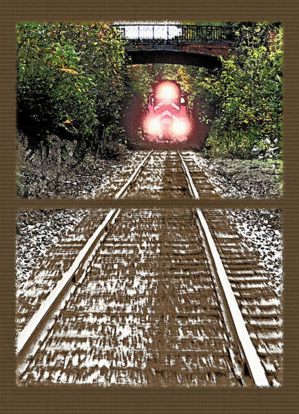 Straight Ahead Wall Art - Photograph - Oncoming Train Diptych by Steve Ohlsen