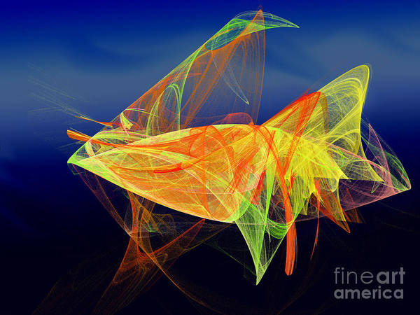 Pleasing Digital Art - One Fish Rainbow Fish by Andee Design