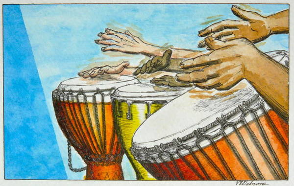 Djembe Wall Art - Painting - One Song Many Hands by Vic Delnore