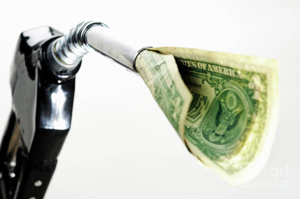 Energy Crisis Photograph - One Us Banknote Coming Out Petrol Pump Nozzle by Sami Sarkis