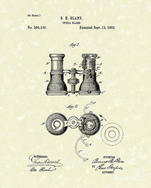 Drawing - Opera Glass 1882 Patent Art by Prior Art Design