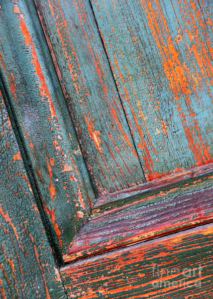Photograph - Orange And Teal - Weathered Door by Carol Groenen