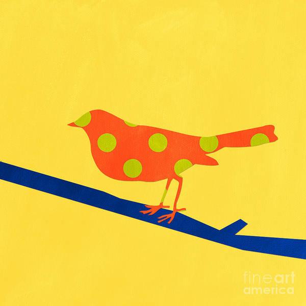Yellow Bird Wall Art - Mixed Media - Orange Bird by Linda Woods