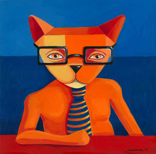 Wall Art - Painting - Orange Business Cat by Mike Lawrence