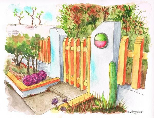 Acuarela Painting - Orange Door In Venice Beach - California by Carlos G Groppa