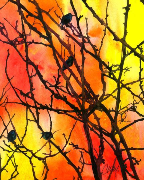 Painting - Orange Sky With Black Birds by Christy Freeman Stark