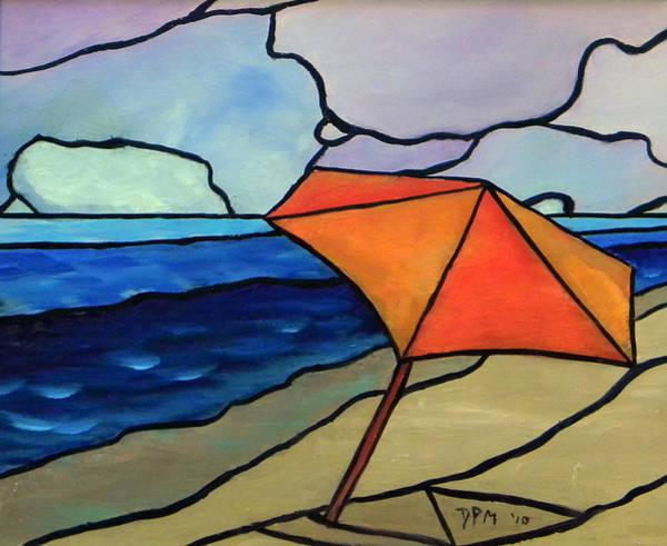 Painting - Orange Umbrella At The Beach by David McGhee