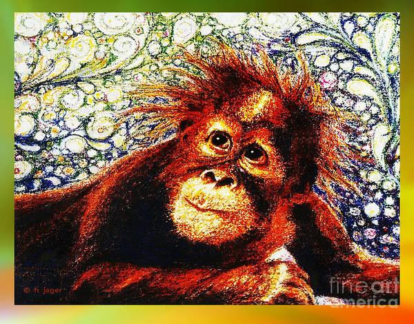 Drawing - Orangutan Baby by Hartmut Jager