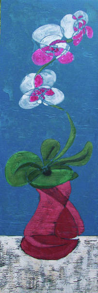 Painting - Orchid Inspired Floral On Blue 1 by John Gibbs