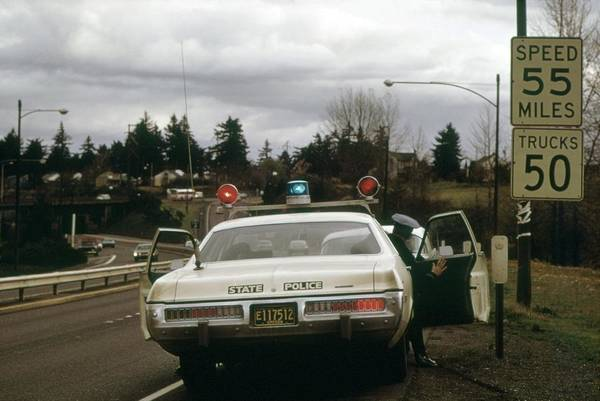 Energy Crisis Photograph - Oregon State Police Stops A Driver Who by Everett