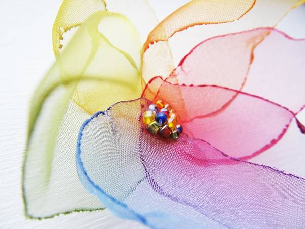 Textile Mill Photograph - Organza Flower by Marianna Mills