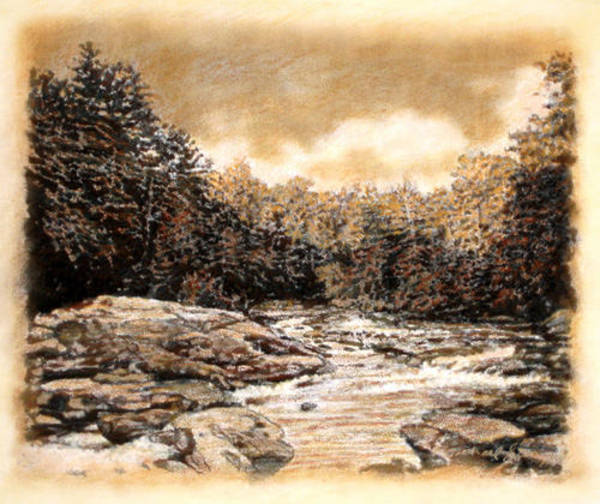 South Beach Drawing - Original Chattooga Boulders by Michael Story
