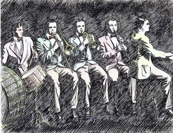 Vintage Chicago Drawing - Original Dixieland Jazz Band by Mel Thompson