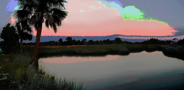 Painting - Original Fine Art Digital Gulf Coast Sunset 8c by G Linsenmayer