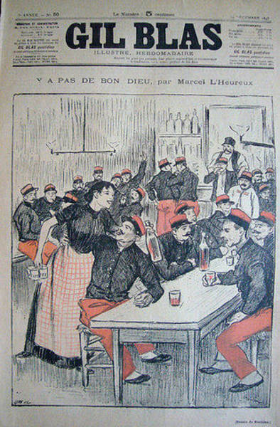 Restaurant Decor Drawing - Original Gil Blas Cover Deember 1893 by Theophile Steinlen
