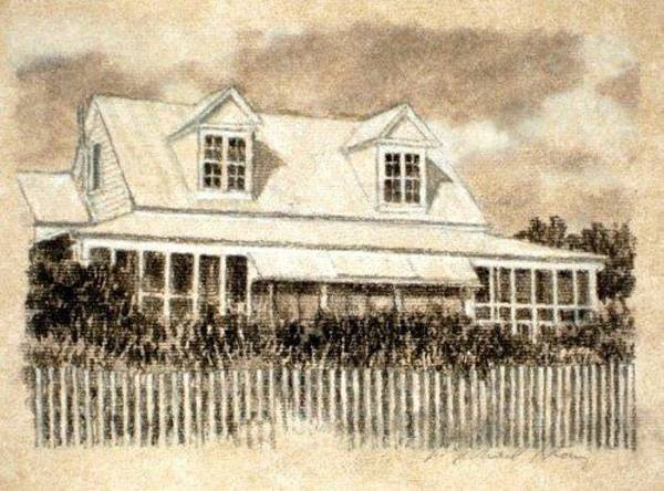 South Beach Drawing - Original Sullivan's Cottage Study by Michael Story