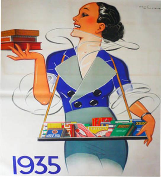 Restaurant Decor Drawing - Original Vintage French Poster 1935 Regie Francaise Rene Vincent by Rene Vincent